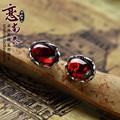 2017 new Natural semi-precious stones Matt S925 silver women jewelry stud earrings Garnet red corundum lady atmosphere for girls