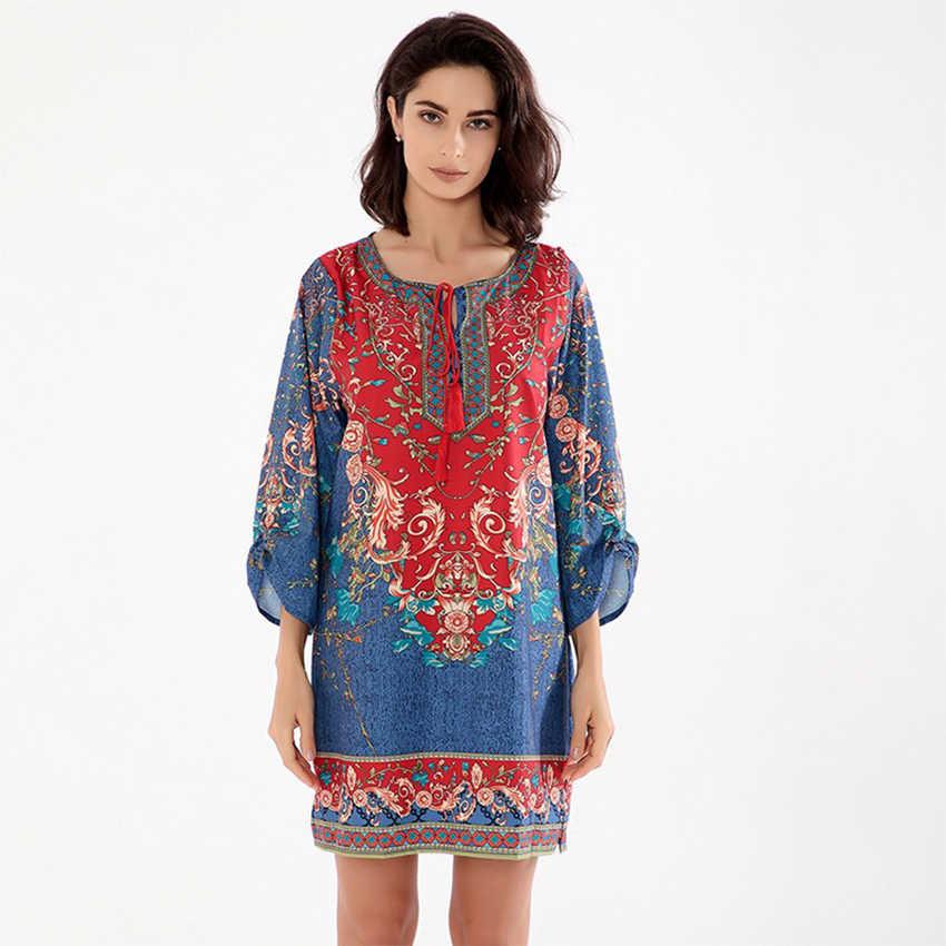 12d5735ac34bb Vintage Baskılı Mini Elbiseler Kadın Moda Zarif Halk Sanatsal Elbise Kadın  Elastik Nefes Artı Boyutu Bayanlar