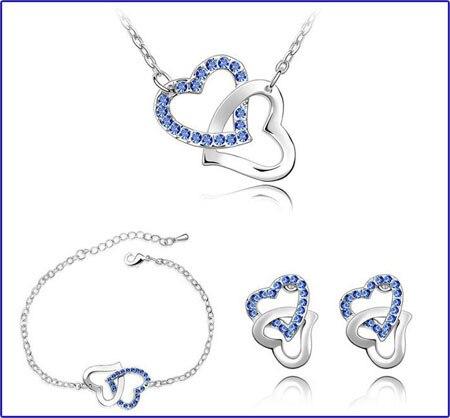 dubbele hart Tsjechische AAAA + steentjes mode ketting oorbellen - Mode-sieraden - Foto 6