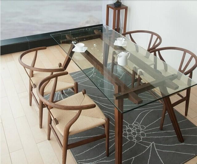 Nordic ikea creativo tavolo da pranzo in vetro vecchio pino