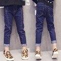 Jeans da moda Bebê Meninas Roupas Calças das Crianças Elástico Da Cintura Calças de Comprimento Longo Para Meninas Denim Calças Lápis TZ140