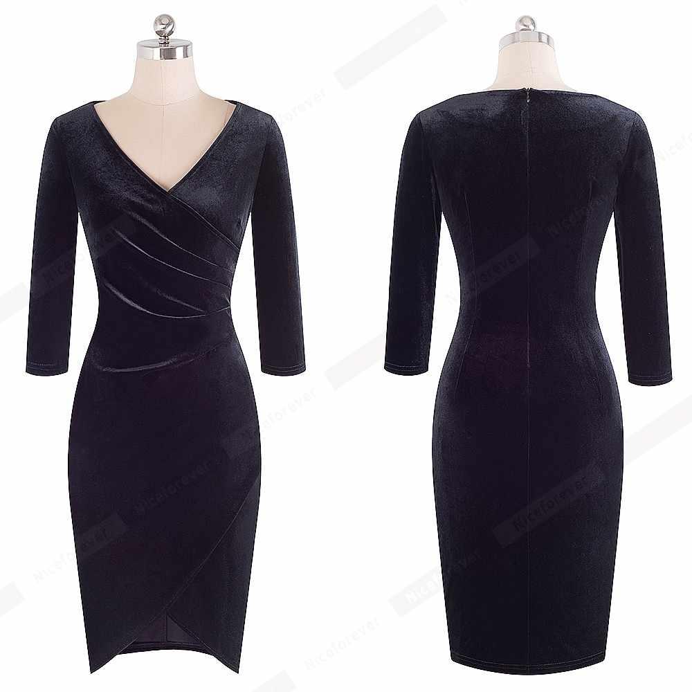 Новый Демисезонный Для женщин сексуальный v-образный вырез с рюшами бархатные вечерние платье элегантный Повседневное Оболочка Тонкий Клубное платье облегающее платье HB419