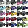 20 color 2016 de la moda de marca de lujo de los hombres de seda de color sólido lazo clásico adulto hombres de color de la boda vestido de traje y corbata ajustable