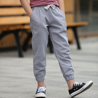 Spring Autumn Kids Pants Boys Linen Trousers For Children Teenage Cloth Leisure School Teens Casual Pants Capris G66