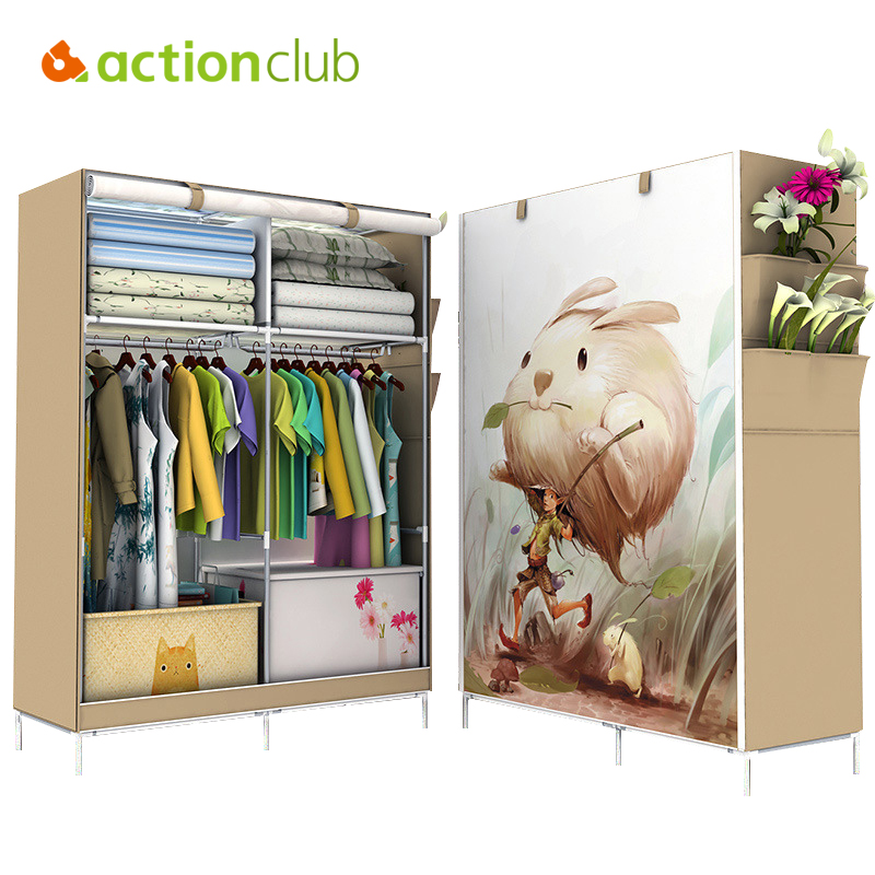 Actionclub Minimalist Modern Non-woven Cloth Wardrobe Closet Folding Large Wardrobe DIY Reinforcement Clothing Storage Cabinet the new cloth wardrobe simple reinforcement of low housing assembly large folding cloth