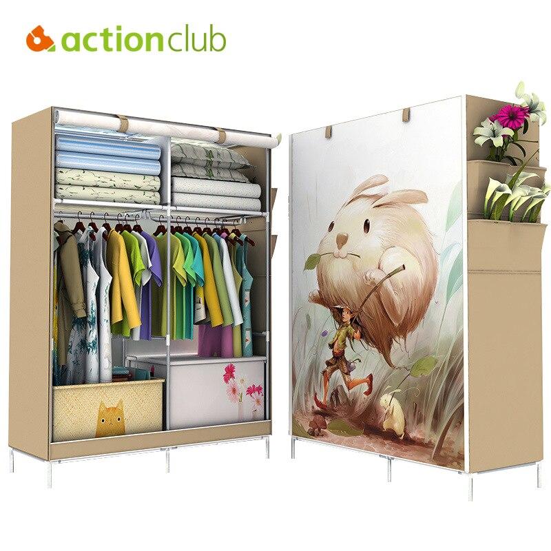 Actionclub Minimalist Modern Non-woven Cloth Wardrobe Closet Folding Large Wardrobe DIY Reinforcement Clothing Storage Cabinet
