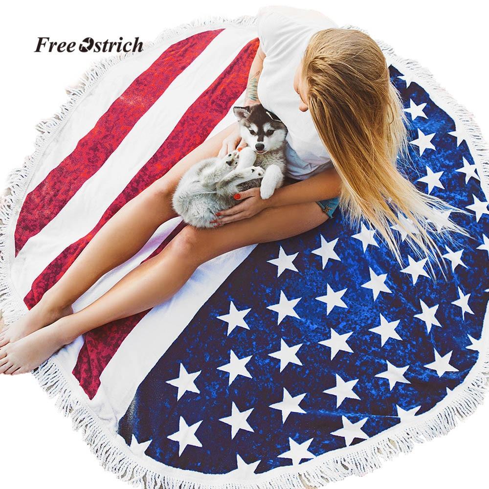 Free Ostrich Beach Towels Womens Men Fashion American Flag Beach Towel With Tassel Swimwear Bathing Suit Seawear Beach Towel Always Buy Good