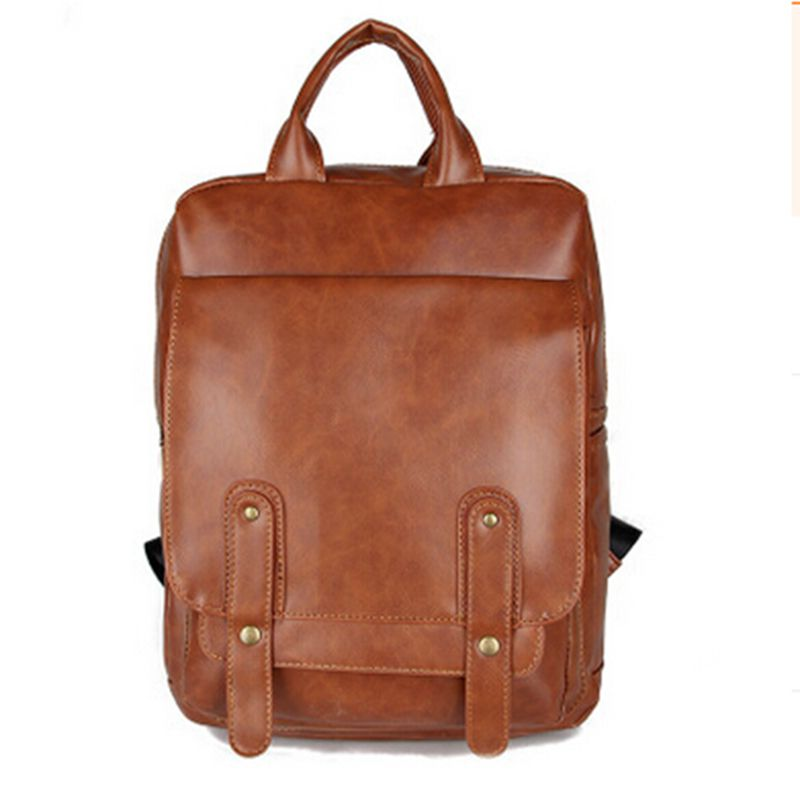 2016 New Vintage Casual High Quality PU Leather Backpack Men Unisex School Bags Women Backpacks Famous Designer Brand Bag high quality pu leather backpack women bag fashion solid backpacks school bags famous brand travel backpack 2017 new shell bags