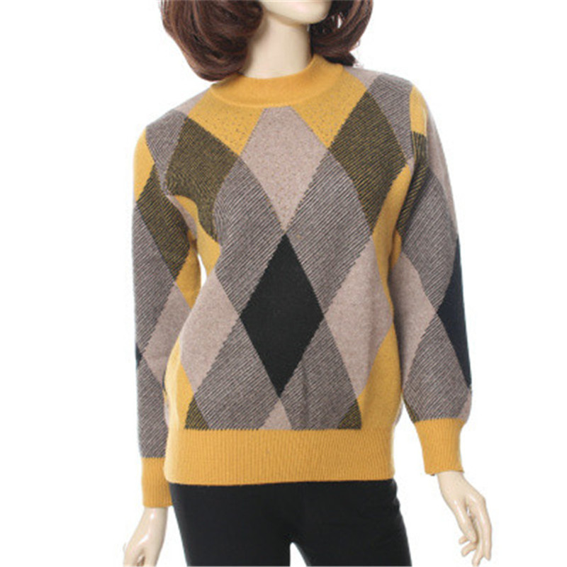 Large Size 100%goat Cashmere Thick Knit Women Fashion Patchwork Color Argyle With Mini Diamonds Pullover Sweater Oneck L-4XL