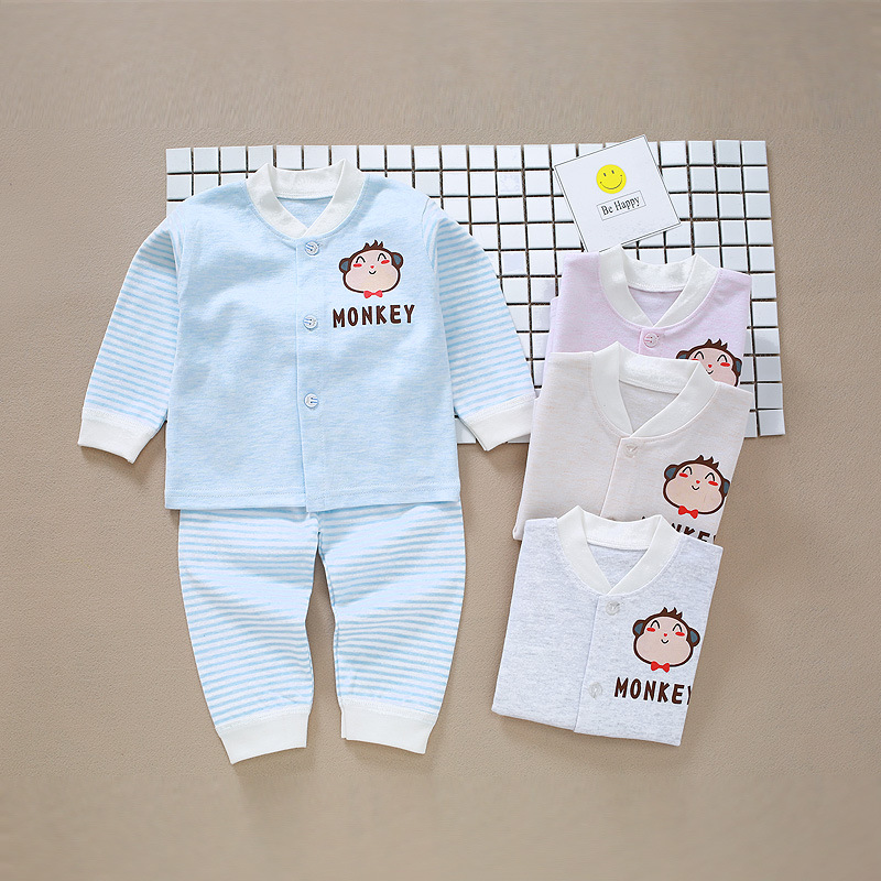 selling Korean version of the new cartoon cardigan combed cotton underwear set baby baby clothing wholesale the power of benefits selling
