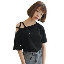 4b2892e5a30 2018 летняя Корейская версия purecolor женские футболки новый сексуальный  танк голое плечо футболки для женщин личности