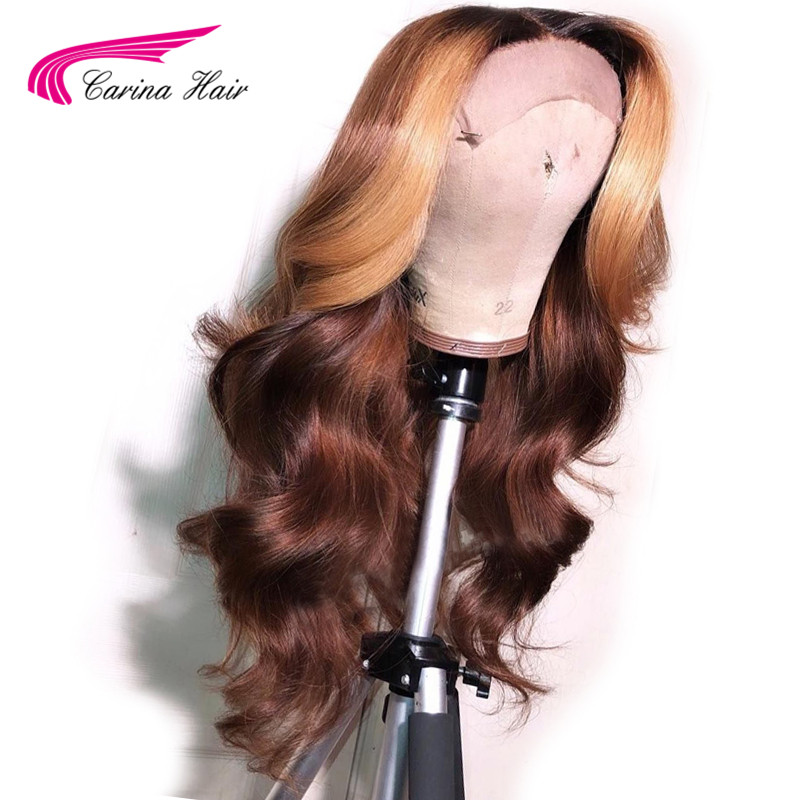 Carina Hair Ombre Brown With Honey Blonde Highlights Human Hair13x6 Lace Frontal Wig Brazilian Remy Lace Front Human Hair Wigs