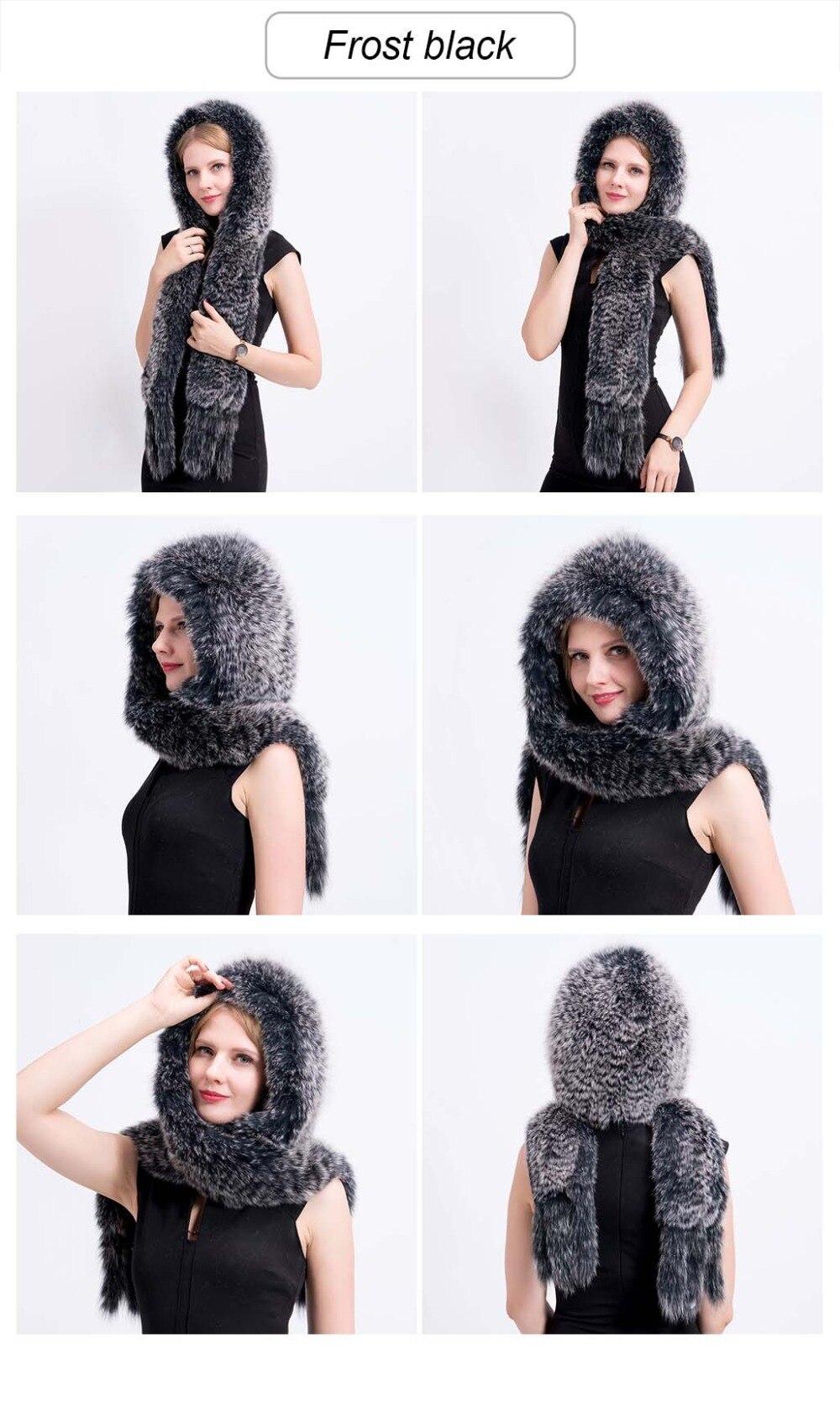 knit fox fur hat scarf color 1