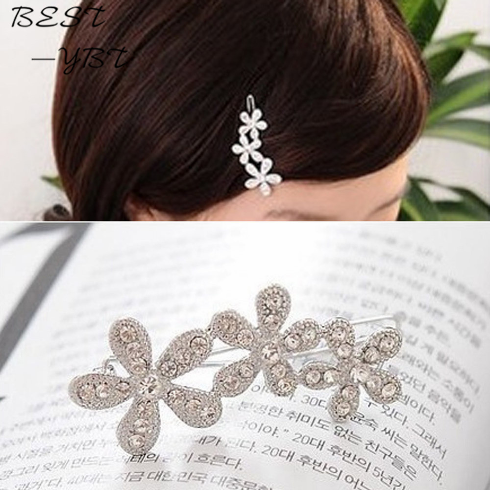 Women Fashion Hair Accessories Diamante Rhinestone Plum Flower Hairpin Bang Side Hair Styling Clip