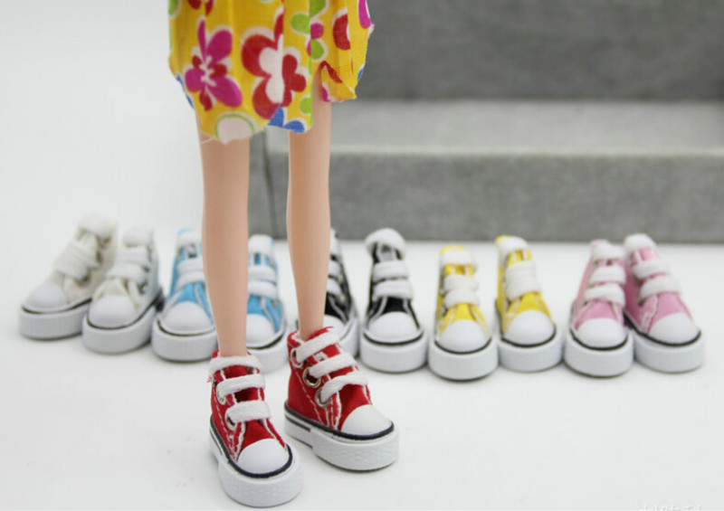 2 Pairs 7.5cm Pair Canvas Shoes Sneaker with Shoelace for 1//4 1//3 BJD