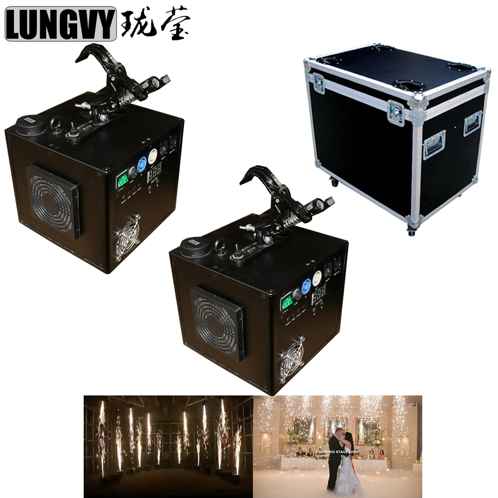 Free Shipping 2pcs/Lot Flycase Packing Cold Sparkler Pyro Pyrotechnics Firework Cold Spark Machine Fountain Titanium Powder