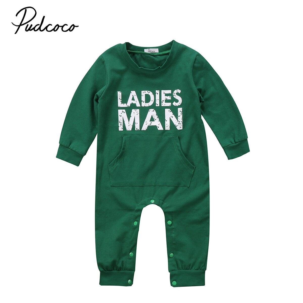 Pudcoco для новорожденных детей Обувь для мальчиков Обувь для девочек Комбинезон зеленый цельный комбинезон, костюм хлопок осенне-зимняя одеж...