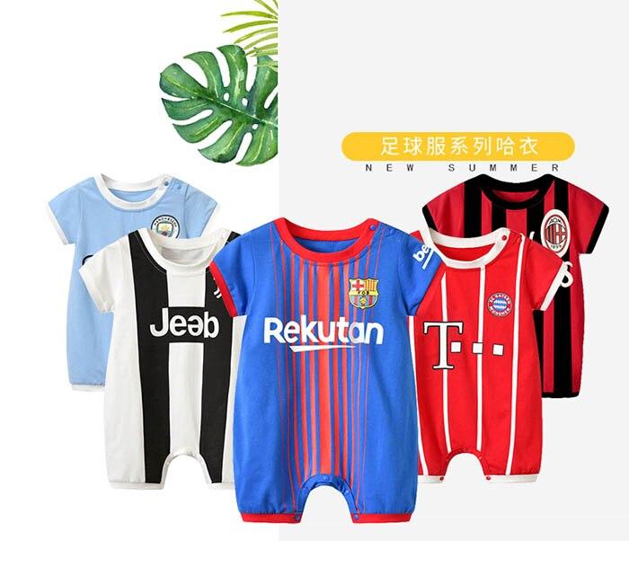 Baby Football Suit Climb   Rompers   Children Sport Jumpsuit Kids Cotton Short Sleeve Soccer Clothes European Football Club