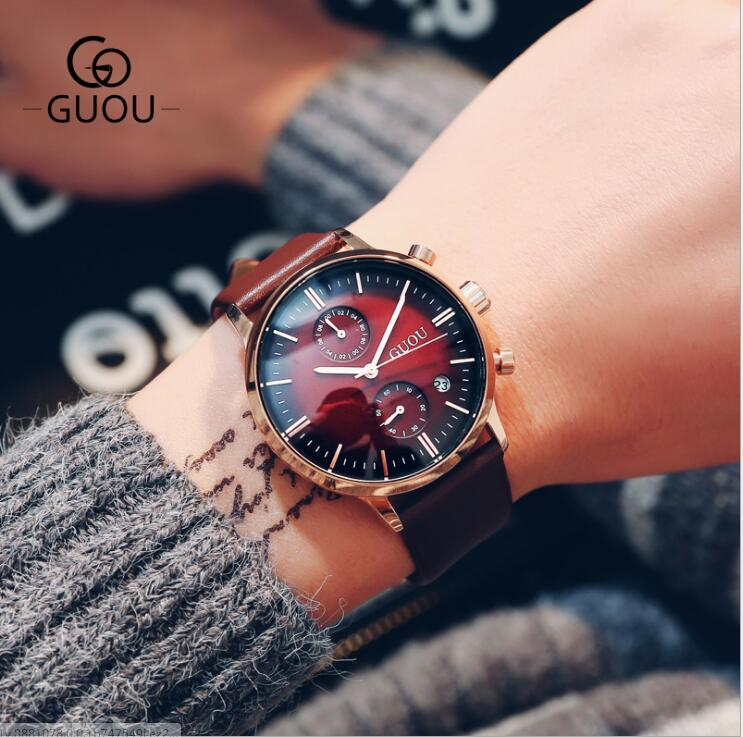 GUOU Men Watch Top Grade Brand Man Luxury Watches Brand Male Quartz Clocks Leather Dress Watches Business Man WristWatches saat oyalie big face automatic watches male luxury gold dial men mechanical wristwatches top brand leather strap man s clocks watch