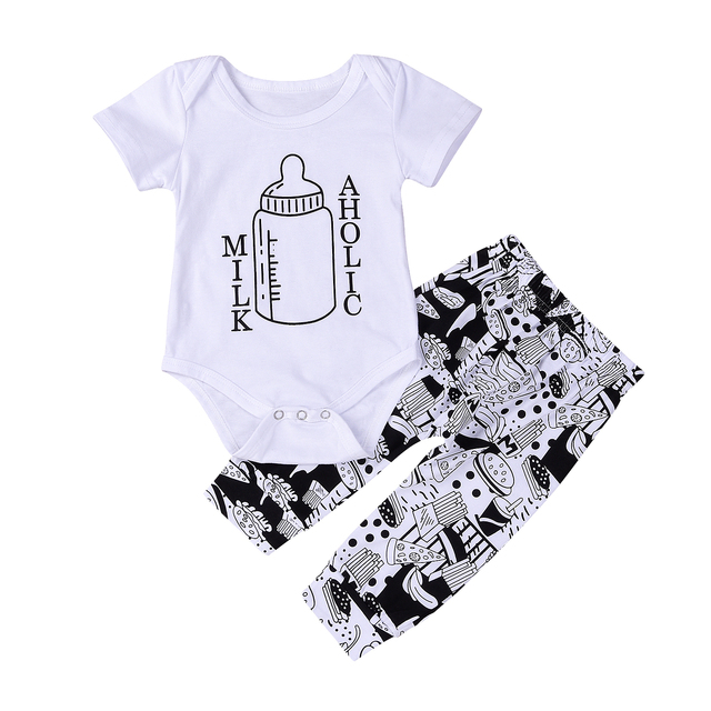 fd11730c166 0-24M Newborn Baby Boys Girls Milk Bottle Short Sleeve Romper Tops+Pattern Long  Pants Cotton Outfit 2Pcs Baby Clothes Set