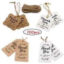 100 шт спасибо бумажные бирки для празднования с нами свадебное
