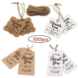 100pcs thank you paper tags for Celebrating with Us wedding decoration gift tags Packaging Hang Tags stationery labels