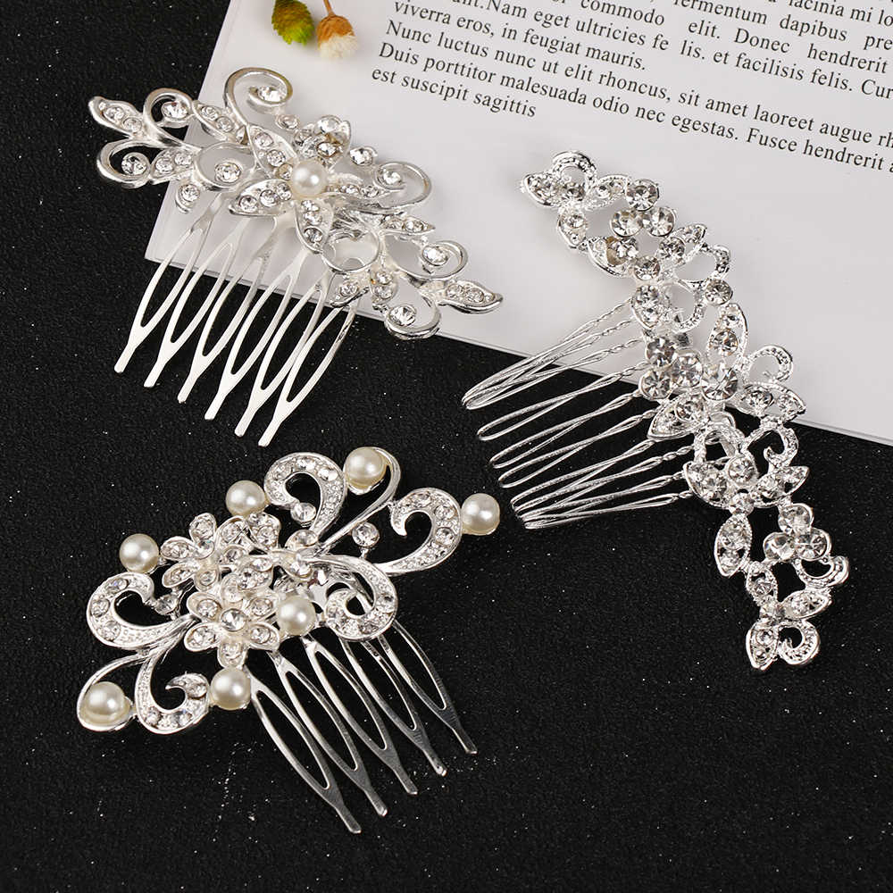 New Rhinestone Flower Leaf Bridal Hair Comb for Girls Crystal Hair Ornaments Jewelry Simulated Pearls Wedding Hair Accessories