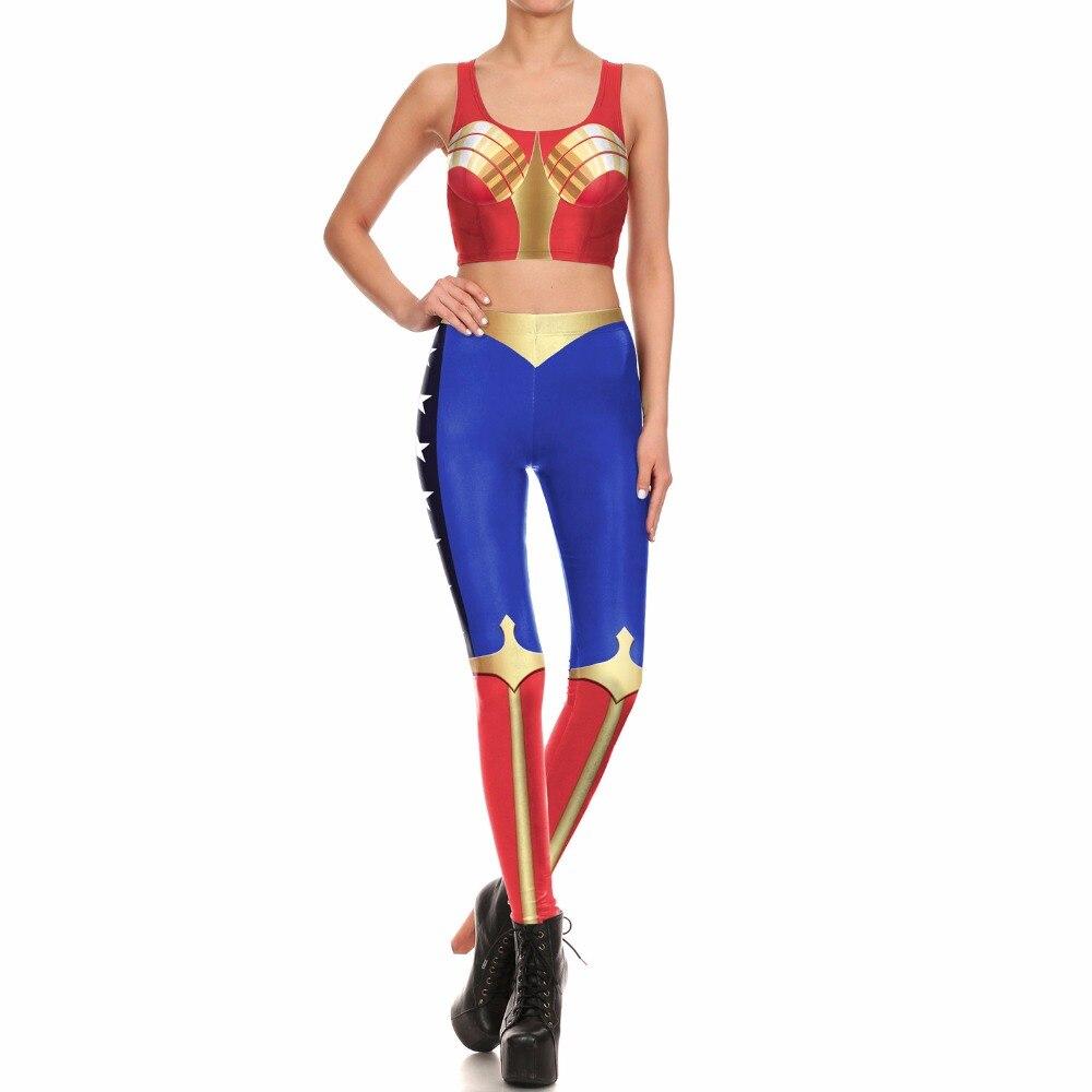 Лидер продаж Модные Wonder Woman жилет Леггинсы для женщин Брюки для девочек Бретели эластичные штаны Косплэй костюм 3D принт Костюмы комплект Бе...