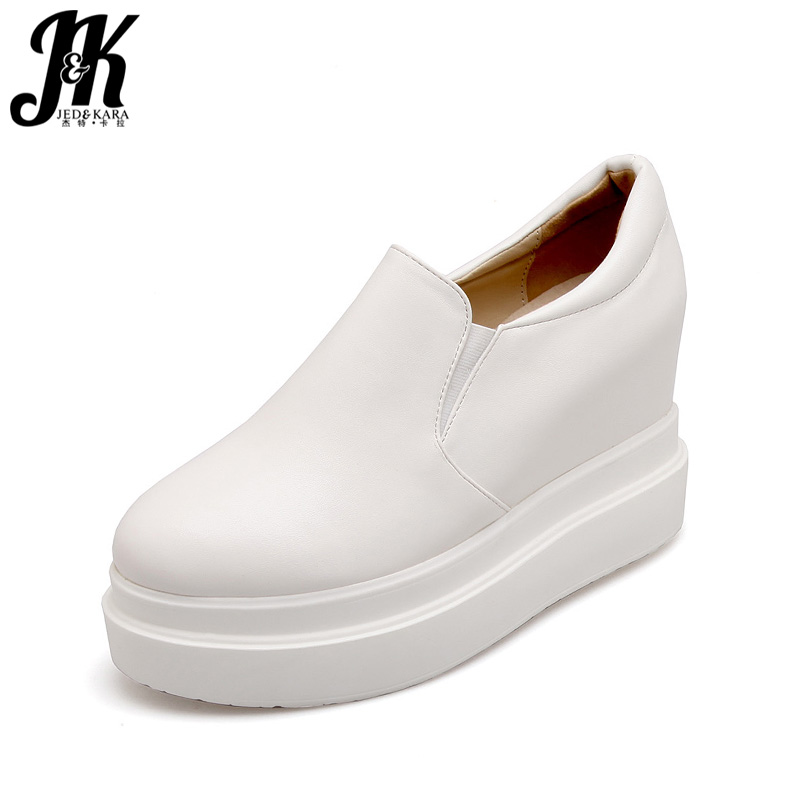 JK Big Size Fashion Casual Women Flats Wedges Round Toe Pu Flat Platform Footwear 218 New Spring Ladies Elevator White Shoes