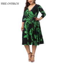 FREE OSTRICH Plus Size V-Neck Print Dress With Waistband And Large Size Dress Women's Evening Party Elegant Cloth(China)