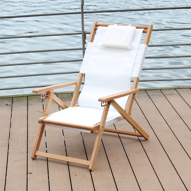 adjustable and foldable reclining beach chair chaise lounger fabric canvas indoor outdoor furniture folding lounge balcony chair