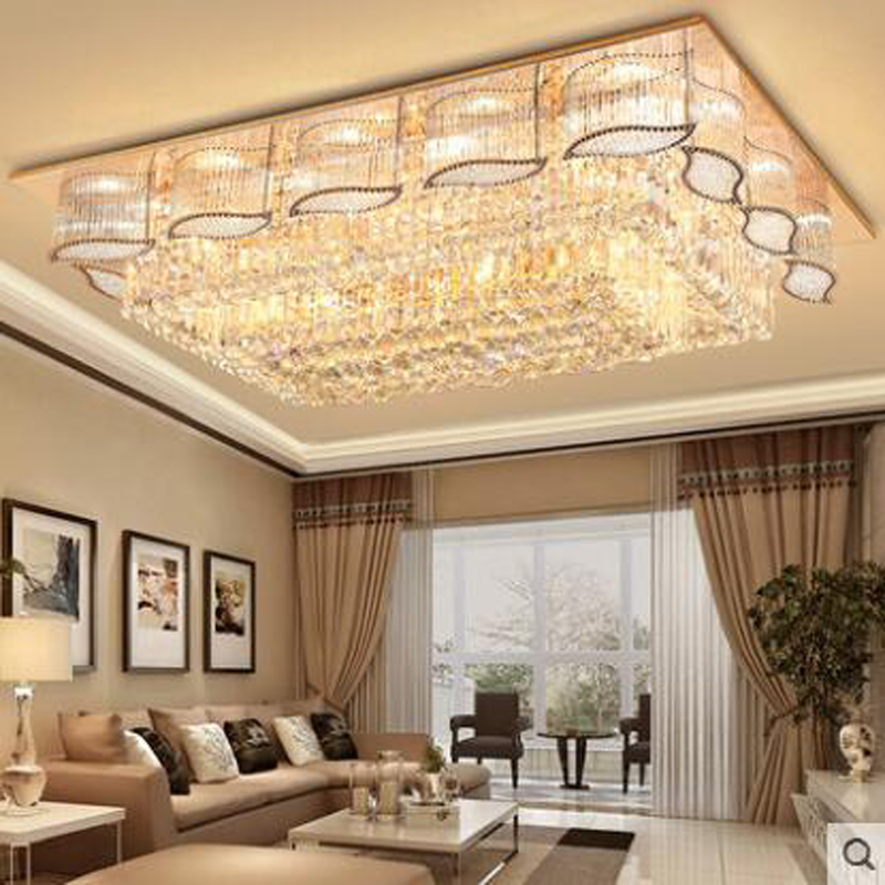 Led ceiling lamp luxury crystal headlight rectangular living room lamp modern minimalist atmosphere restaurant bedroom lamps rectangular europe living room crystal lights led ceiling lamps bedroom modern minimalist dining room lighting high quality