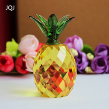 jqj crystal glass block pineapple figurine ornaments christmas sale feng shui festive party house desk tablle