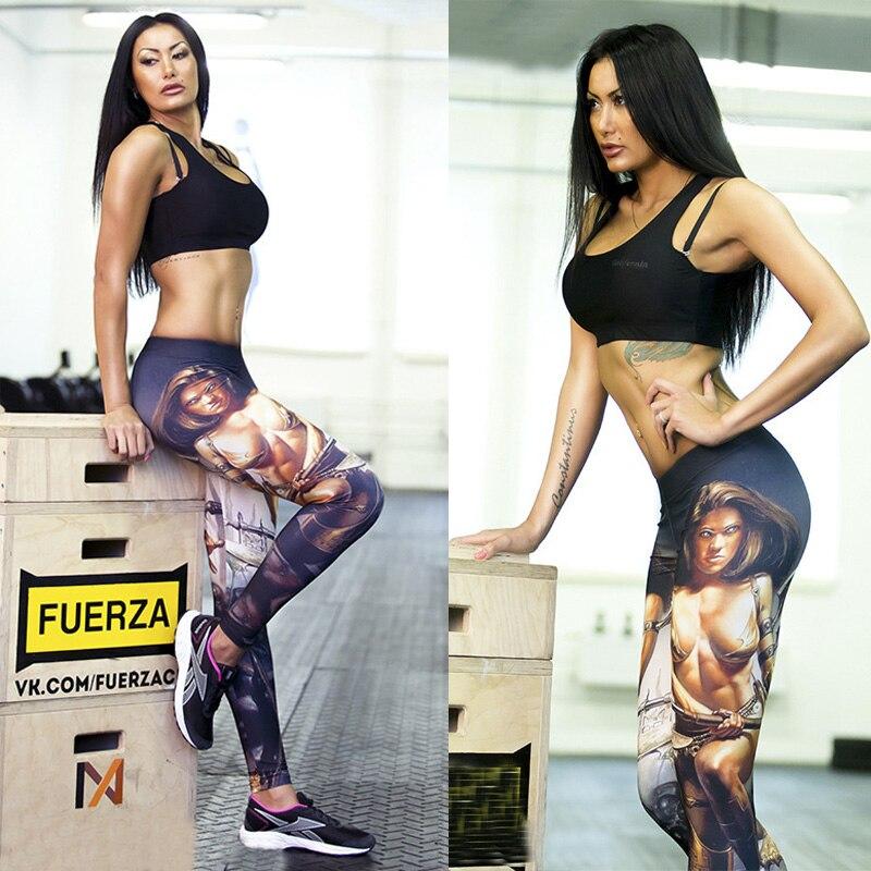 BIVIGAOS Digital Printing High Waist Casual Leggings Sexy Female Warrior Workout Leggings Pants Muscle Leggings Trousers Women