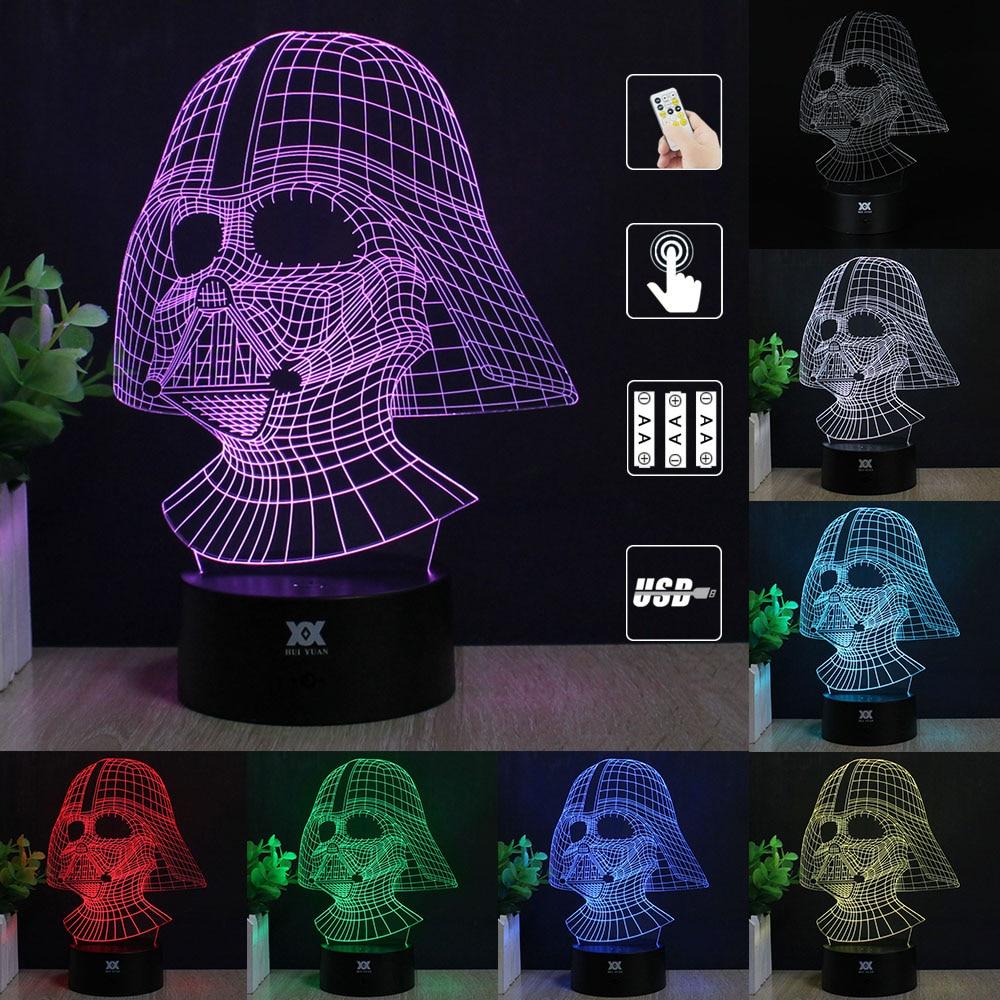 Zvaigžņu karu Anakin Skywalker 3D lampa Darth Vader LED - Nakts gaismas - Foto 3