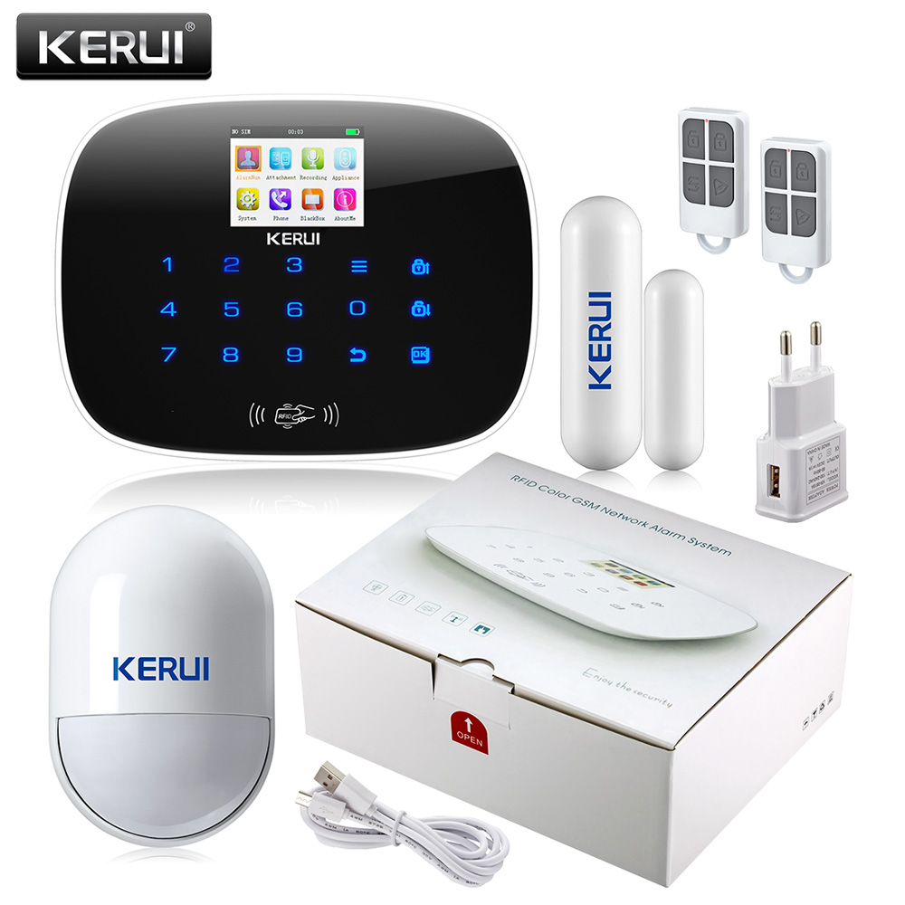 KERUI Android IOS APP 433MHz TFT color Screen UI menu GSM Alarm System SIM Card Phone call sms Alarm Security door open remind