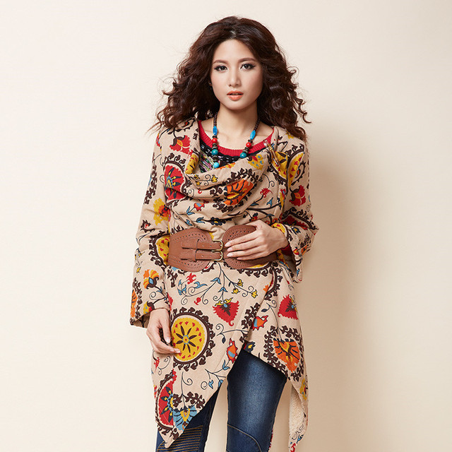 BOHOCHIC Original Vintage National Ethnic Women Coat Irregular Hem Loose Autumn Winter Thicken Cloak Outerwear XY0004Q