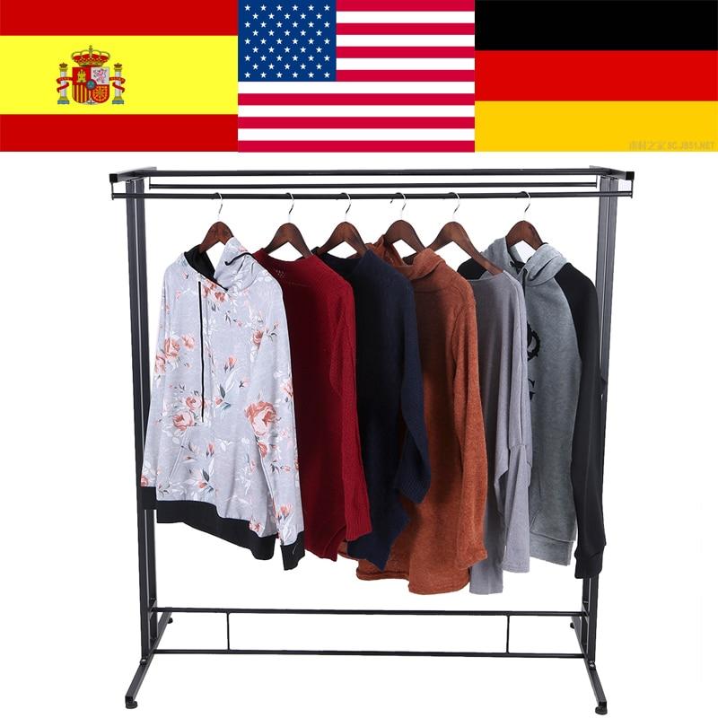 Durable Metal Double Rods Home Garment Rack Organizer Commercial Clothes Display Shelf clothes hanger rack colgadores ropa