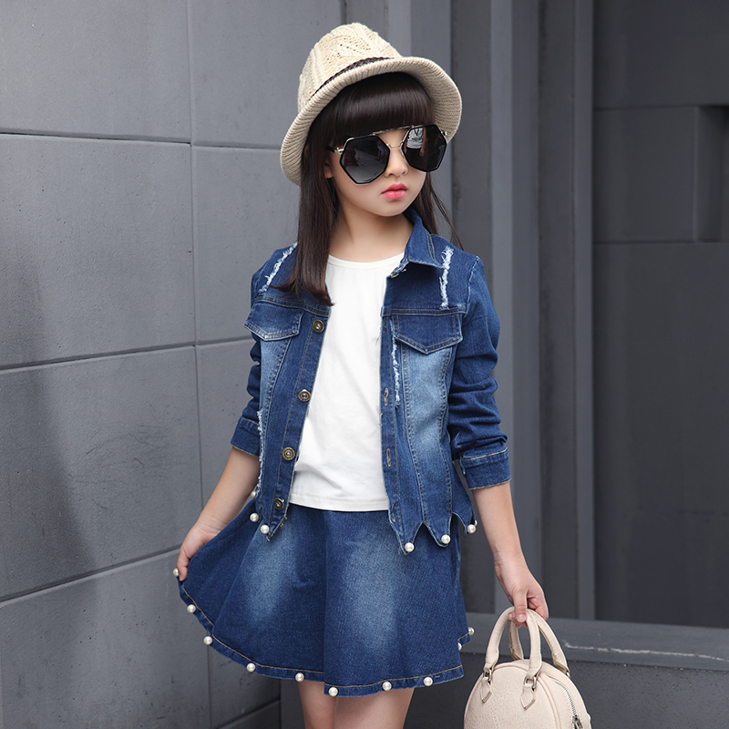 6d25df0f0a17 Baby Girls Pearl Denim Jacket Jeans Short Mini Skirt Set Fashion Kids Girl  Jacket Coat Skirt Suit Set Children Spring Outfits-in Clothing Sets from  Mother ...