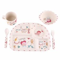 5Pcs Set Baby Tableware Learning Dishes Training Plate Kids Feeding Bowl Cup Fork Spoon Food Safe