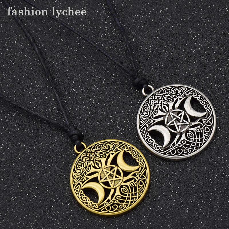 Wiccan magique déesse Triple lune Pendentif antique en argent