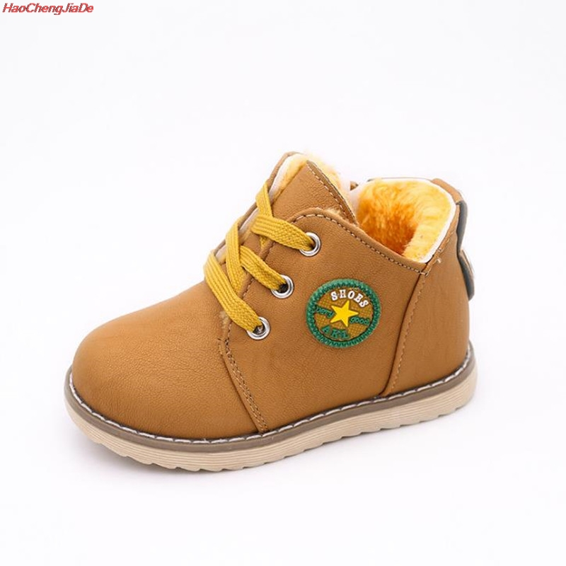 HaoChengJiaDe Cute Winter Baby Boots Soft Sneakers Children's Autumn Toddler Ankle Felt Boots Kids Warm Snow Shoes For Boys Girl