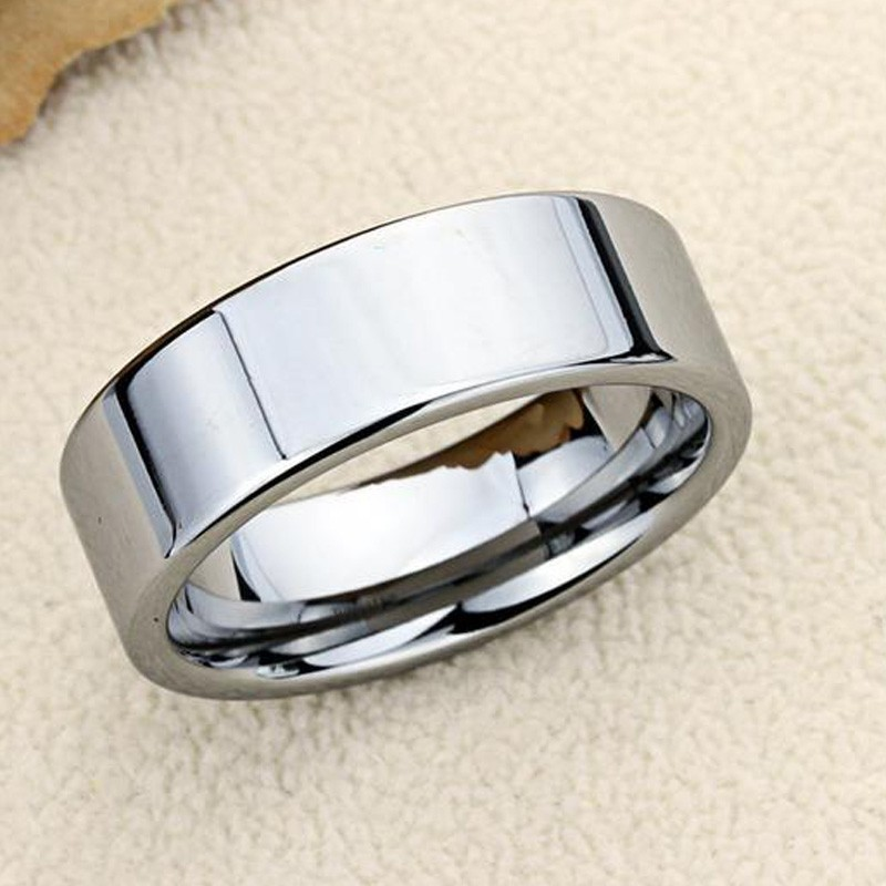 Classic silver color Wedding Ring Flat Top Stainless Steel Promise Ring For Women Men 6mm 8mm