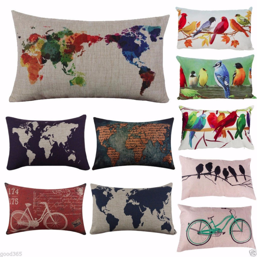 Mayitr rectangle world map bird cotton linen throw pillow - Housse coussin maison du monde ...