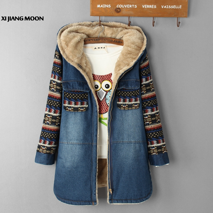 Women Winter Jacket Women Lambswool Jean Jacket Coat Hooded