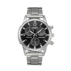 Модные для мужчин кристалл нержавеющая сталь Аналоговые кварцевые наручные часы браслет