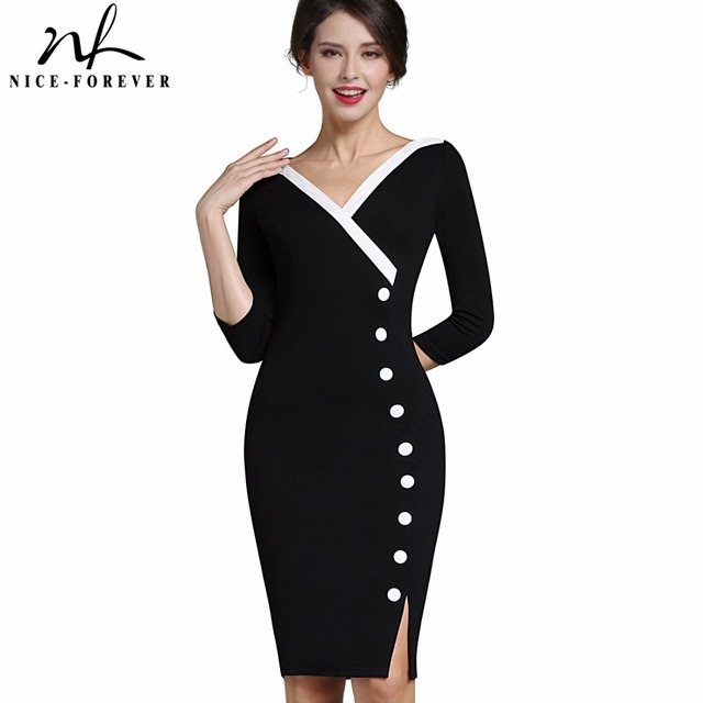 e008989ee467 Nice-forever Mature Elegant Sexy V-neck Stylish Button Work dress Office  Bodycon Female