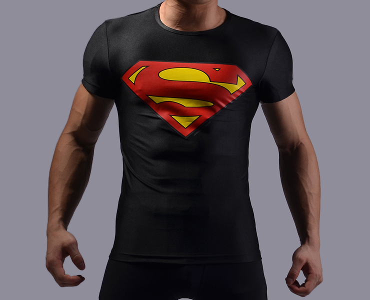 high elastic men superhero superman t shirt fitness gym tight compression shirts 3d printing tee. Black Bedroom Furniture Sets. Home Design Ideas
