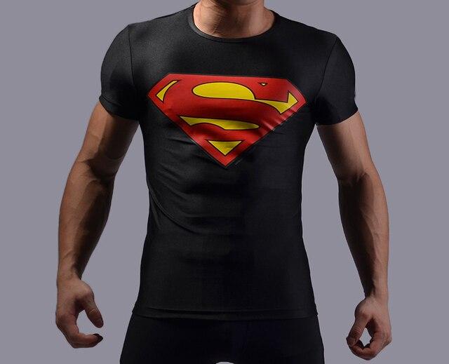 high elastic men superhero superman t shirt fitness gym tight compression shirts 3d printing tee. Black Bedroom Furniture Sets. Home Design Ideas