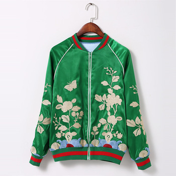 2016 New Arrived Women Casual Long Sleeve Green Full Zip Up Flower Embroidery Bomber baseball brand Jaqueta Jas Jacket Coat